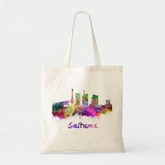 Saitama skyline in watercolor tote bag