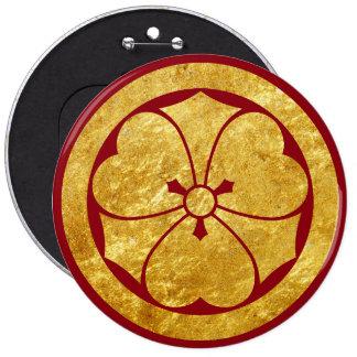 Sakai Mon Japanese samurai clan faux gold on red 6 Inch Round Button