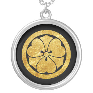 Sakai Mon Japanese samurai clan gold on black Silver Plated Necklace