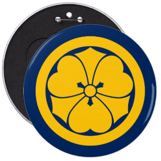 Sakai Mon Japanese samurai clan yellow on blue 6 Inch Round Button