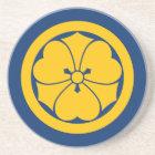 Sakai Mon Japanese samurai clan yellow on blue Coaster