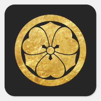 Sakai Mon Japanese samurai faux gold on black Square Sticker