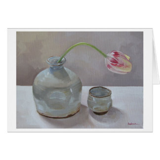 Sake Jug with Tulip Art Card