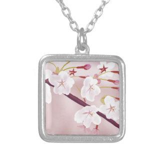 sakura-a silver plated necklace