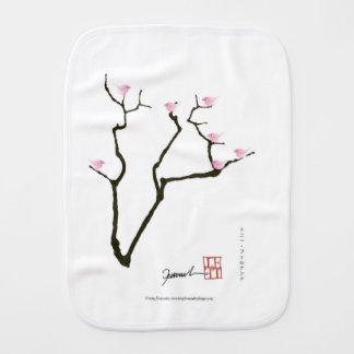 sakura and 7 pink birds 1, tony fernandes burp cloth