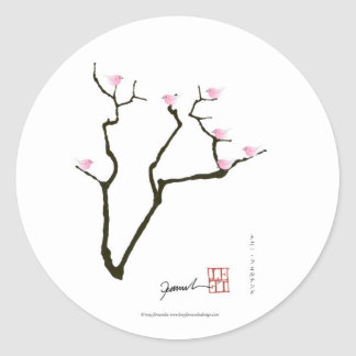 sakura and 7 pink birds 1, tony fernandes classic round sticker