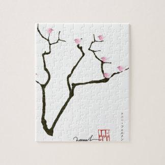 sakura and 7 pink birds 1, tony fernandes jigsaw puzzle