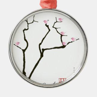 sakura and 7 pink birds 1, tony fernandes metal ornament