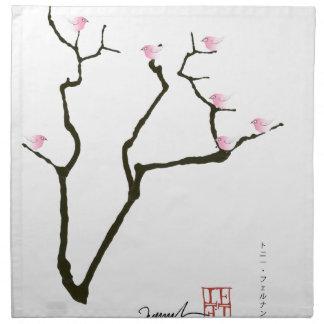 sakura and 7 pink birds 1, tony fernandes napkin