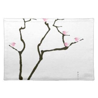 sakura and 7 pink birds 1, tony fernandes placemat