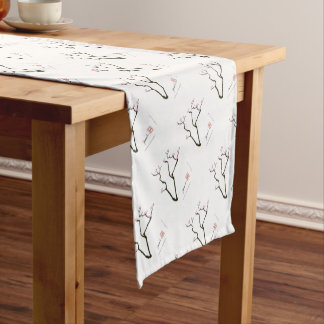 sakura and 7 pink birds 1, tony fernandes short table runner