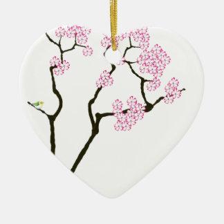 sakura bloom white eye bird, tony fernandes ceramic ornament
