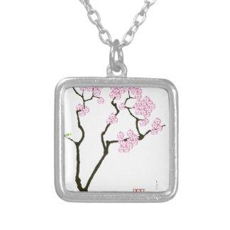 sakura bloom white eye bird, tony fernandes silver plated necklace