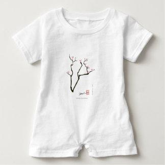 sakura blossom and pink birds, tony fernandes baby romper