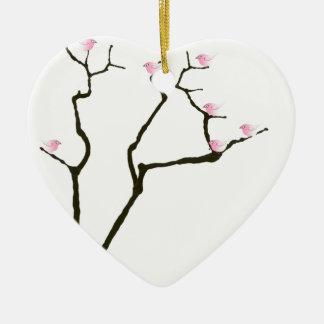 sakura blossom and pink birds, tony fernandes ceramic ornament
