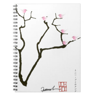 sakura blossom and pink birds, tony fernandes notebook