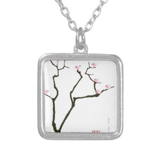 sakura blossom and pink birds, tony fernandes silver plated necklace