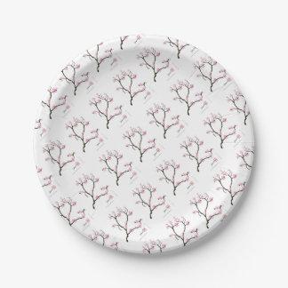 sakura blossom with pink birds, tony fernandes 7 inch paper plate