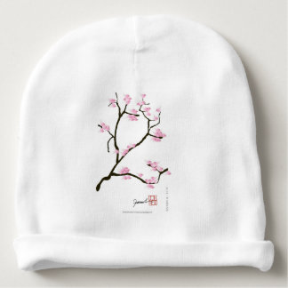 sakura blossom with pink birds, tony fernandes baby beanie