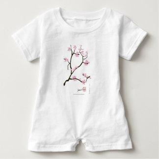sakura blossom with pink birds, tony fernandes baby romper