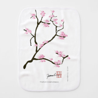sakura blossom with pink birds, tony fernandes burp cloth