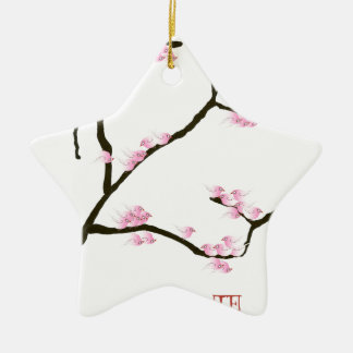 sakura blossom with pink birds, tony fernandes ceramic ornament
