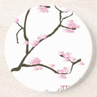 sakura blossom with pink birds, tony fernandes coaster