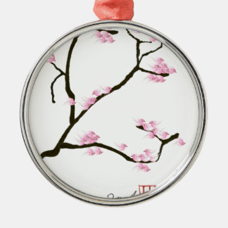 sakura blossom with pink birds, tony fernandes metal ornament