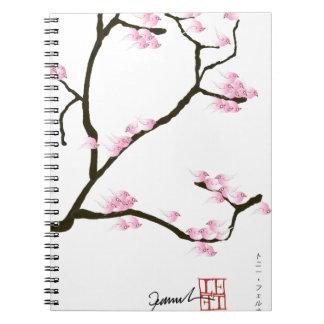 sakura blossom with pink birds, tony fernandes spiral notebook