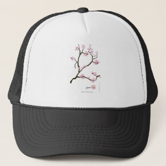 sakura blossom with pink birds, tony fernandes trucker hat