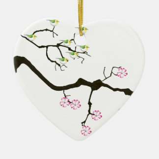 sakura blossoms with birds, tony fernandes ceramic ornament
