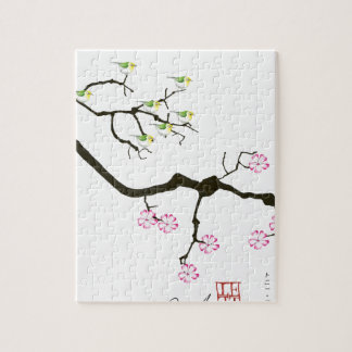 sakura blossoms with birds, tony fernandes jigsaw puzzle