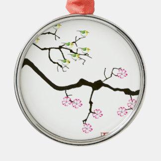 sakura blossoms with birds, tony fernandes metal ornament
