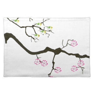 sakura blossoms with birds, tony fernandes placemat