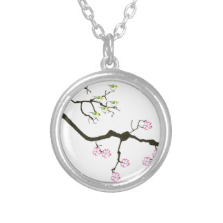 sakura blossoms with birds, tony fernandes silver plated necklace