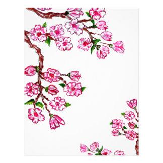 Sakura Branch Painting Customized Letterhead