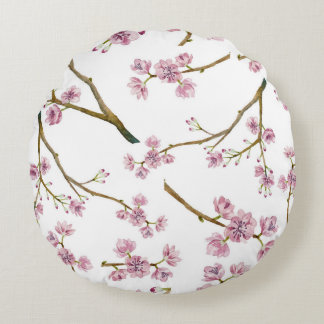Sakura Cherry Blossom Pattern Round Pillow