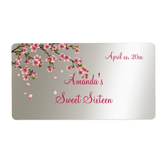 Sakura, Cherry Blossom Sweet Sixteen Label Shipping Label