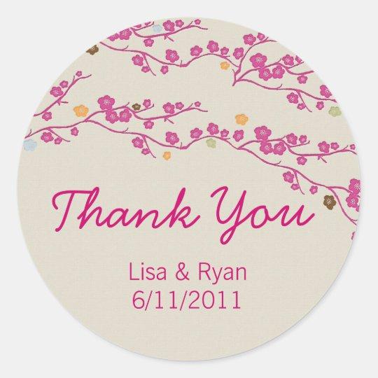 Sakura Cherry Blossom Thank You Stickers