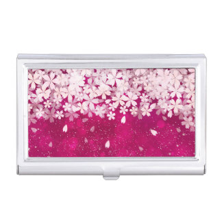 Sakura Cherry Blossoms Fuchsia & White Flowers Business Card Holder