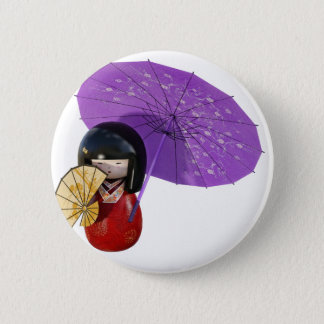 Sakura Doll with Umbrella 2 Inch Round Button