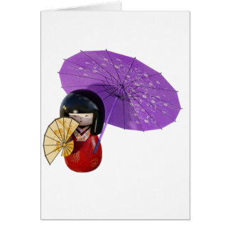 Sakura Doll with Umbrella Card