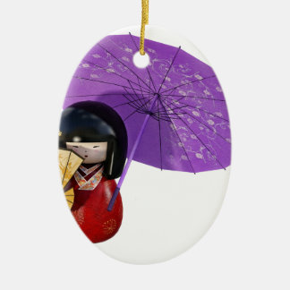 Sakura Doll with Umbrella Ceramic Ornament