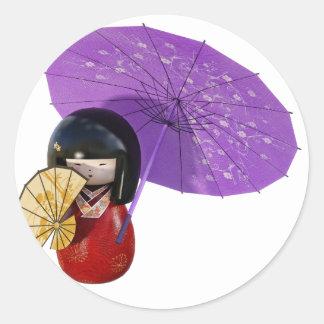 Sakura Doll with Umbrella Classic Round Sticker