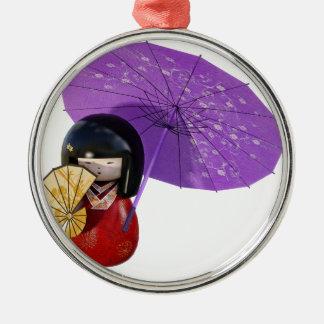 Sakura Doll with Umbrella Metal Ornament