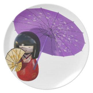 Sakura Doll with Umbrella Plate