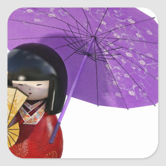 Sakura Doll with Umbrella Square Sticker