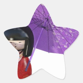 Sakura Doll with Umbrella Star Sticker