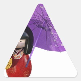 Sakura Doll with Umbrella Triangle Sticker