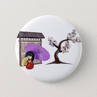 Sakura Doll with Wall and Cherry Tree 2 Inch Round Button